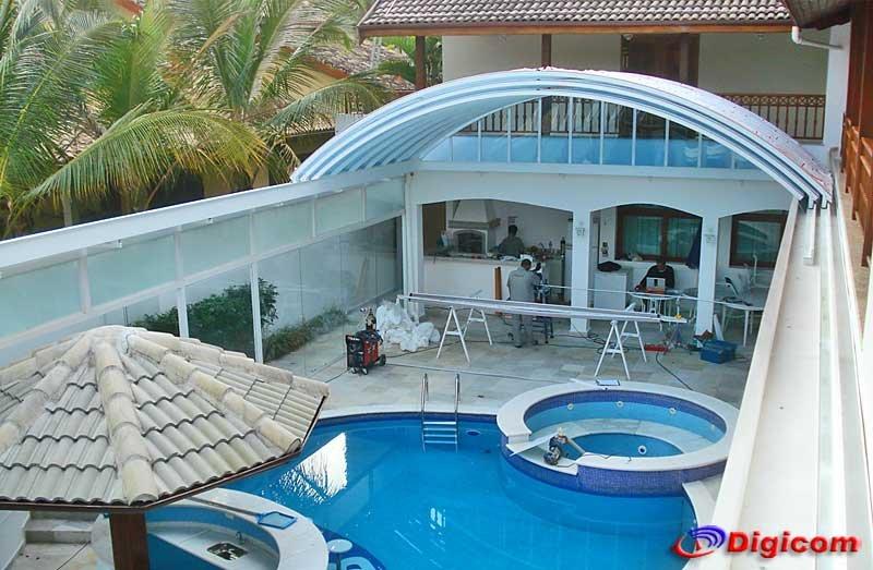 Cobertura de policarbonato digicom for Coberturas para piscinas