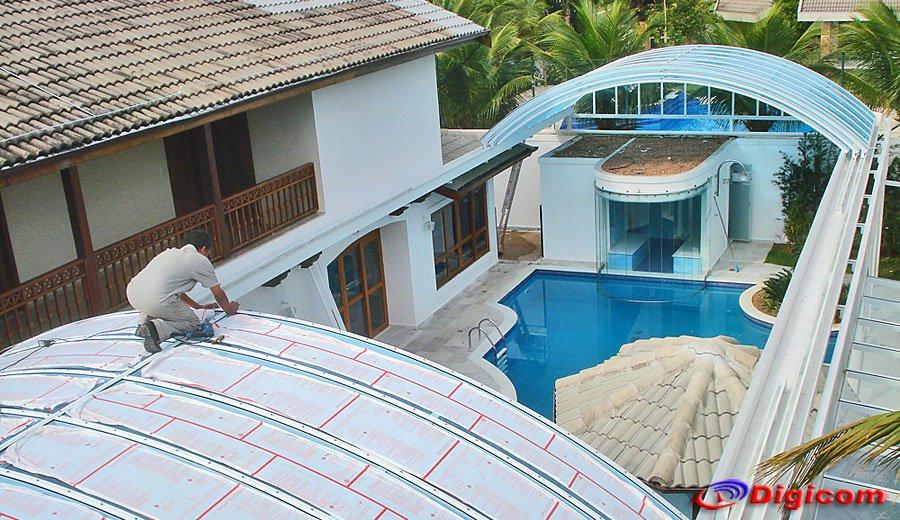 Cobertura de policarbonato digicom for Cobertura piscina